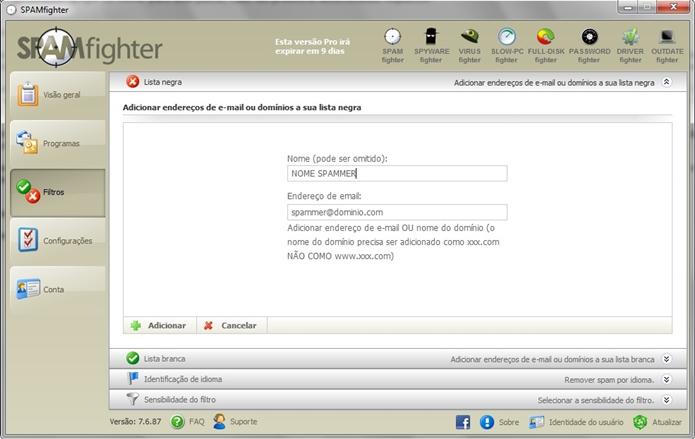 Janela para adicionar e-mail à lista negra no SPAMfigther (Foto: Reprodução/Raquel Freire)