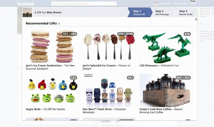Gifts permitia que usuários fizessem compras a partir do Facebook (foto: Reprodução/Mashable)