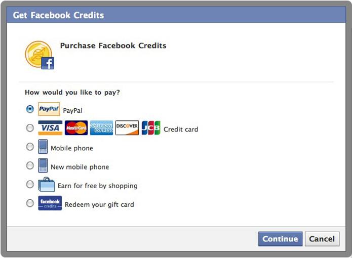 Credits foi a tentativa do Facebook de criar uma moeda virtual (foto: Reprodução/Mashable)