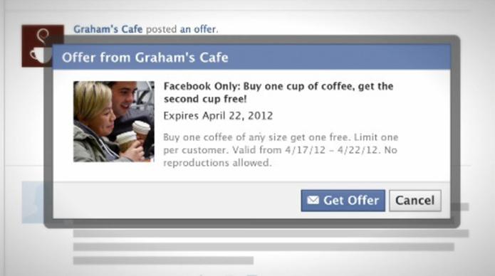 Offers permitia que usuários do Facebook ganhassem cupons na rede social (foto: Reprodução/Mashable)