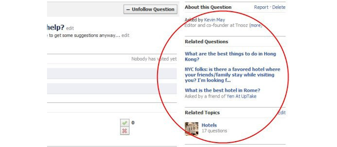 Questions permitia que usuários fizessem perguntas para amigos na rede social (foto: Reprodução/Mashable)