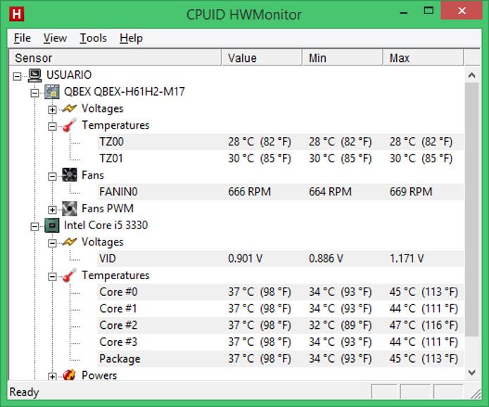 Programa HWMonitor monitora temperatura e voltagem dos componentes do computador (Foto: Reprodução / Dario Coutinho)