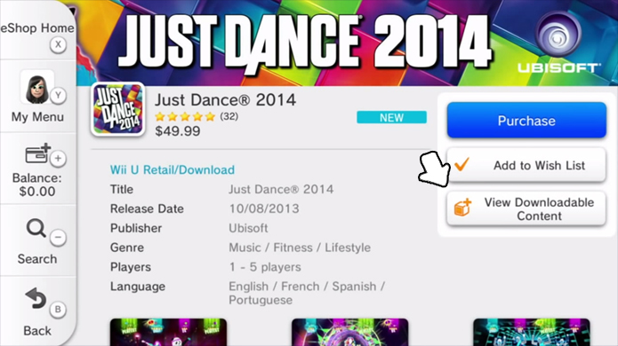Baixar músicas de Just Dance 2014 é um pouco mais complicado no Wii U (Foto: Divulgação)