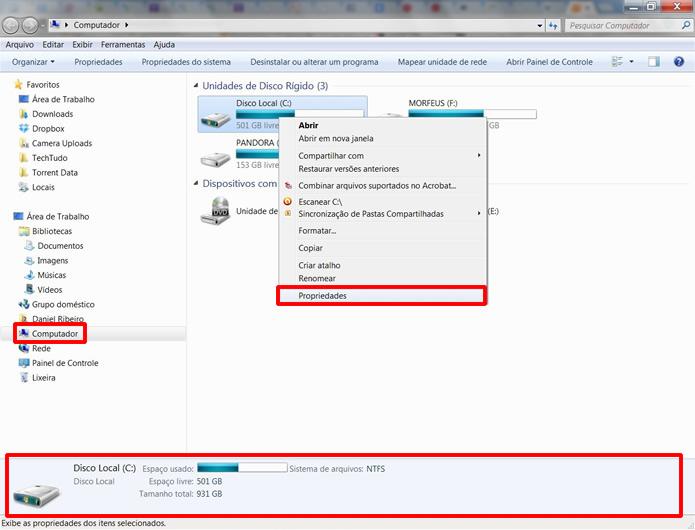 Clique em Computador no Windows Explorer e selecione a alternativa propriedades para ver mais informações sobre seus discos rígidos (Foto: Reprodução/Daniel Ribeiro)