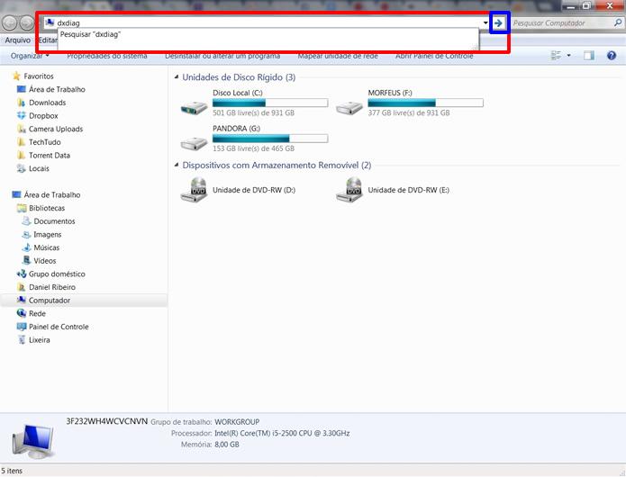 Digite dxdiag na barra de endereços do Windows Explorer (Foto: Reprodução/Daniel Ribeiro)