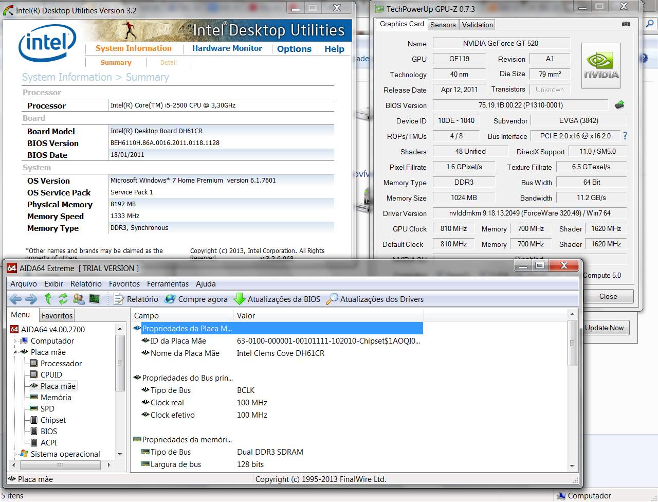 Utilize softwares como o Intel Desktop Utilites, GPU-Z e AIDA64 Extreme para identificar a placa-mãe de seu desktop (Foto: Reprodução/Daniel Ribeiro)