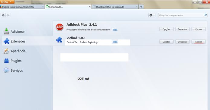 Clique no botão Excluir para remover a extensão 22Find do Firefox