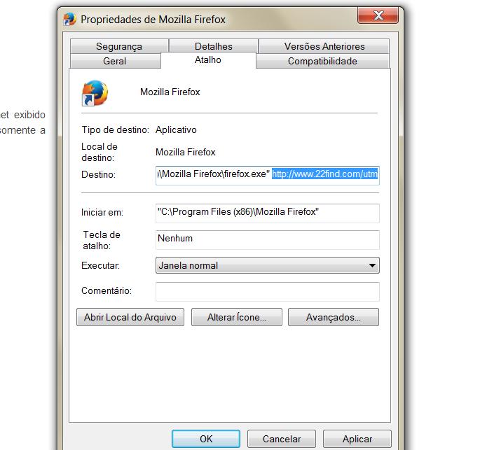 Remova o endereço do site 22find, na opção Destino (