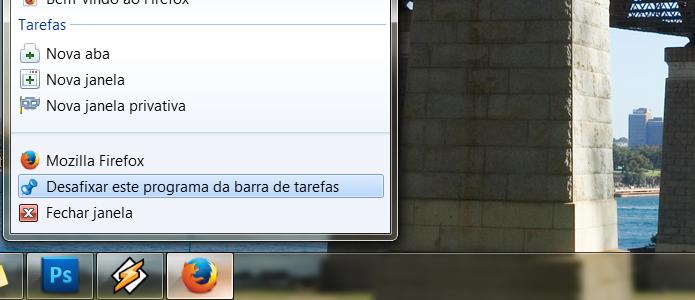 Desafixe o Firefox de sua barra de tarefas