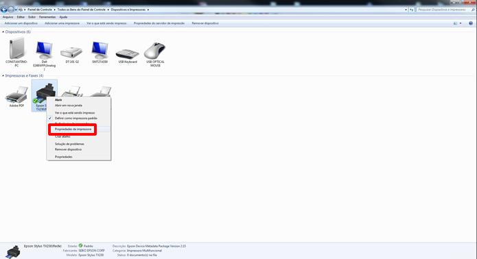Clique com o botão direito do mouse sobre o periférico que você deseja compartilhar e selecione Propriedades do Escâner, ou Propriedades da Impressora, caso seja uma impressora multifuncional (Foto: Reprodução/Daniel Ribeiro)