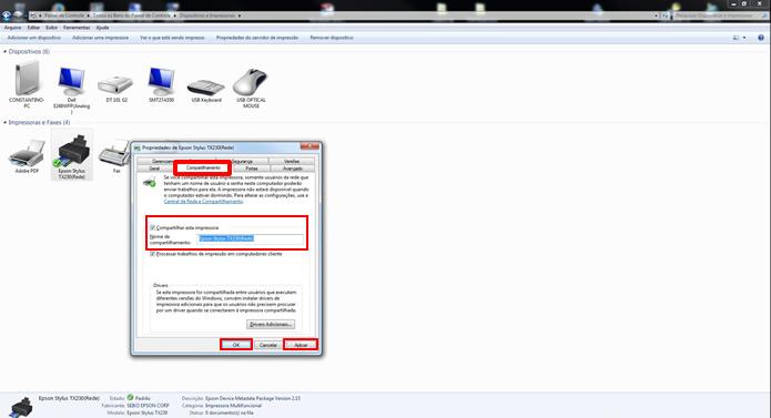 Na aba Compartilhar, marque a caixa de seleção indicada, escolha um nome para o aparelho na rede local e clique no botão OK  (Foto: Reprodução/Daniel Ribeiro)