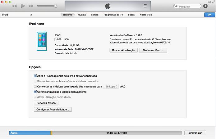 iTunes abrirá quando você conectar o iPod (Foto: Thiago Barros/TechTudo)