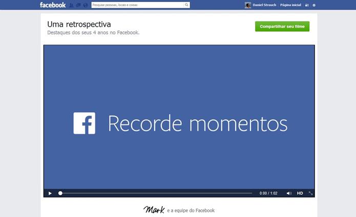 O vídeo do Facebook Look Back também pode ser compartilhado na rede social (Foto: Daniel Ribeiro)