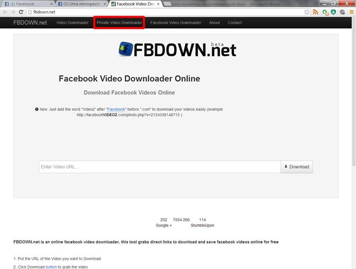 Vá até o site FBDOWN.net e clique na ferramenta Private Video Downloader (Foto: Daniel Ribeiro)