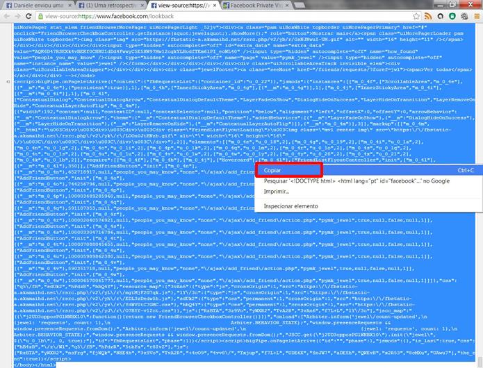 Marque todo o código exibido e insira o comando Ctrl + C ou clique com o botão direito do mouse e selecione a opção Copiar (Foto: Daniel Ribeiro)