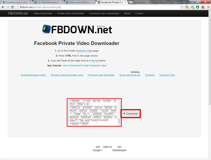 Retorne para a ferramenta especial do FBDOWN.net, cole o código e aperte Download (Foto: Daniel Ribeiro)