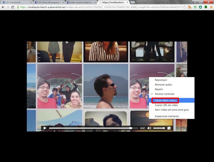 Clique com o botão direito do mouse sobre imagem do vídeo e selecione Salvar vídeo como... (Foto: Daniel Ribeiro)