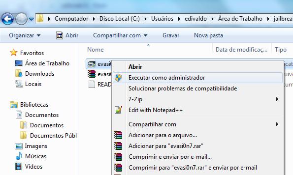 Executando evasi0n no Windows (Foto: Reprodução/Edivaldo Brito)