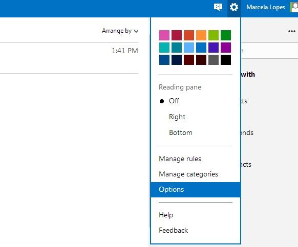Opções do Outlook.com (Foto: Reprodução/ Marcela Vaz)