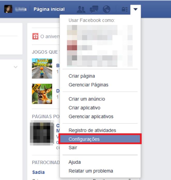 Atalho para as configurações do Facebook (Foito: Reprodução/Lívia Dâmaso)