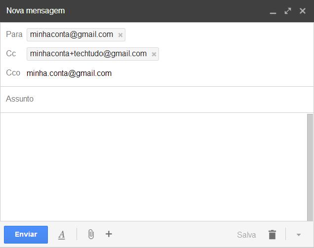 Ponto e sinal de adição não influenciam o endereço de e-mail (Foto: Reprodução/ Marcela Vaz)
