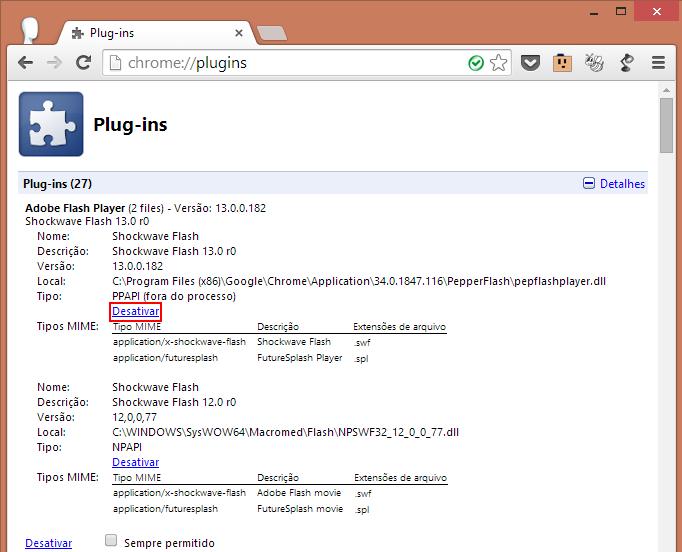 Desative o plugin nativo do Chrome, deixando somente a versão do WIndows (Foto: Reprodução/Paulo Alves)
