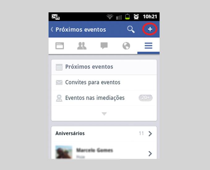 Botão para criar evento no Facebook Opção para gerenciar eventos no Facebook (Foto: Reprodução/ Marcela Vaz)