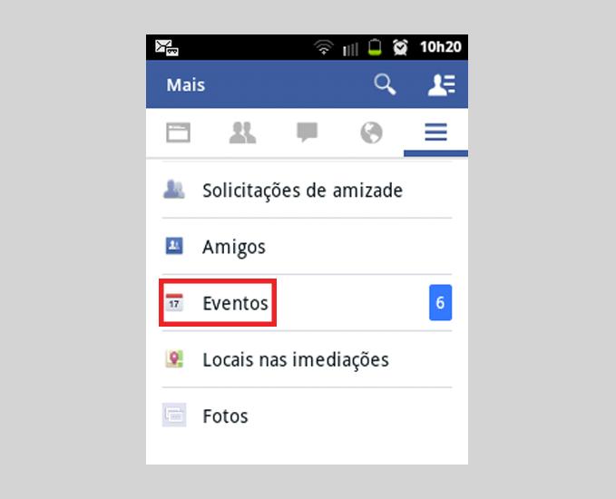 Opção para gerenciar eventos no Facebook Guia Mais na página inicial do Facebook (Foto: Reprodução/ Marcela Vaz)