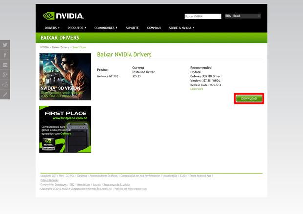Reconhecida a placa, clique no botão em destaque para fazer o download do aplicativo Nvidia Driver, compatível com o seu componente (Foto: Reprodução/Daniel Ribeiro)
