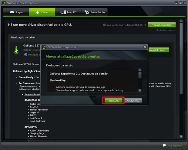 Execute o programa e clique no botão em destaque, se for detectada uma nova atualização (Foto: Reprodução/Daniel Ribeiro)