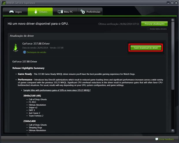 Clique no botão em destaque para baixar o instalador do upgrade de seu driver (Foto: Reprodução/Daniel Ribeiro)
