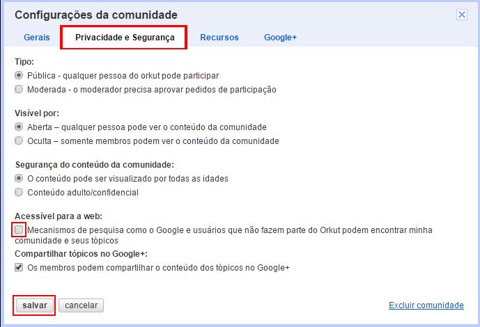 Opções de privacidade também controlam inclusão de comunidade no arquivo (foto: Reprodução/Orkut)