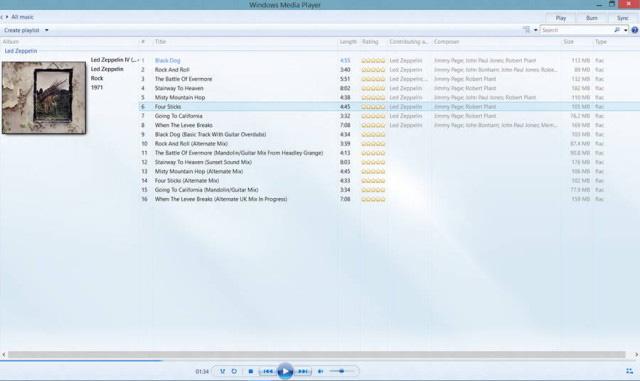 Site divulgou imagem do Media Player do Windows 10 executando uma playlist em FLAC (Foto: Reprodução/WMPowerUser)