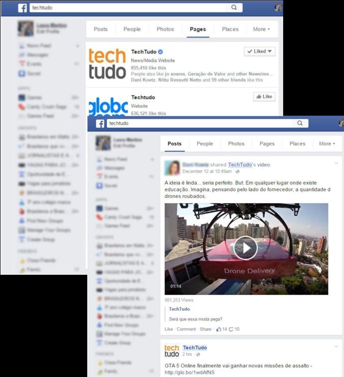 Resultados na página de Posts e Páginas ao pesquisar TechTudo (Foto: Reprodução / Laura Martins)
