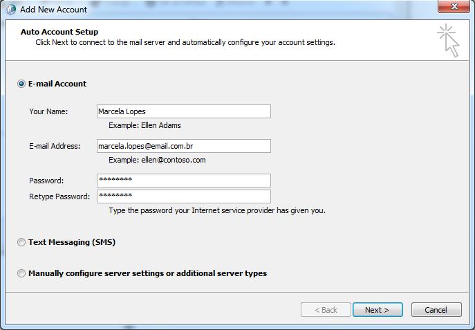 Adição de conta de e-mail no Outlook (Foto: Reprodução/Marcela Vaz)
