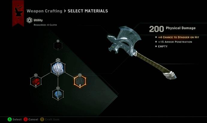 As armas de Dragon Age podem ser aprimoradas por diferentes materiais (Foto: Divulgação)