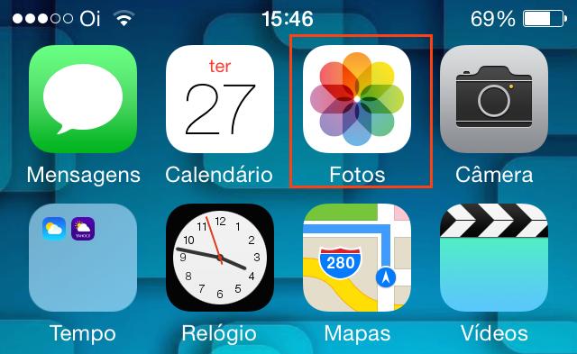 Acessando o app Fotos do iOS (Foto: Reprodução/Edivaldo Brito)