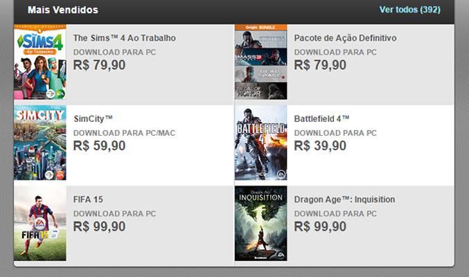 Alguns dos principais games da Electronic Arts estarão com descontos de 30% a 50% (Foto: Reprodução/Daniel Ribeiro)