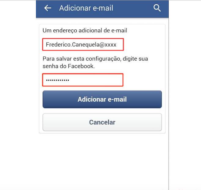 Adicine o novo e-mail e introduza sua senha do Facebook (Foto: Reprodução)