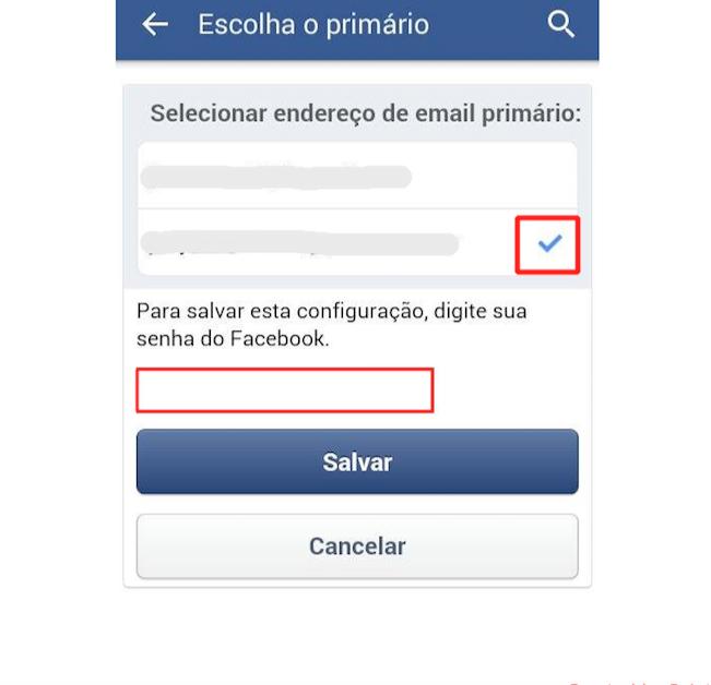 Escolha o novo e-mail principal, insira a senha do Facebook e confirme (Foto: Reprodução)