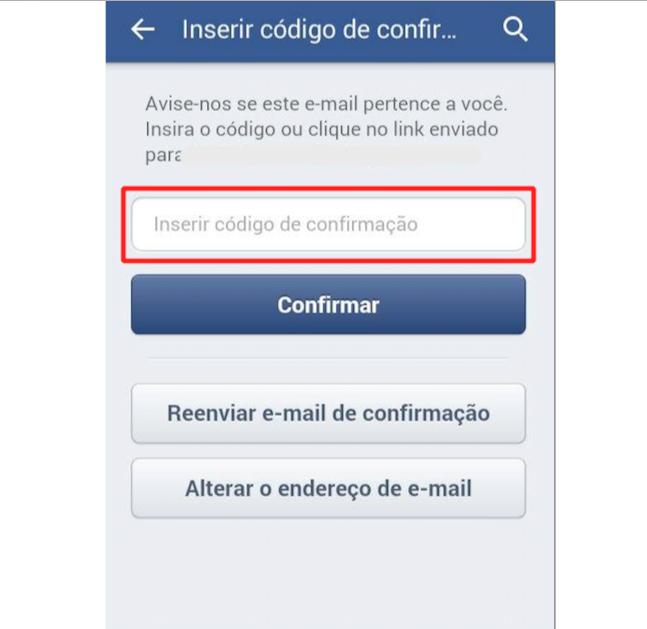 Insira o Código de confirmação enviado no e-mail e toque em Confirmar (Foto: Reprodução)