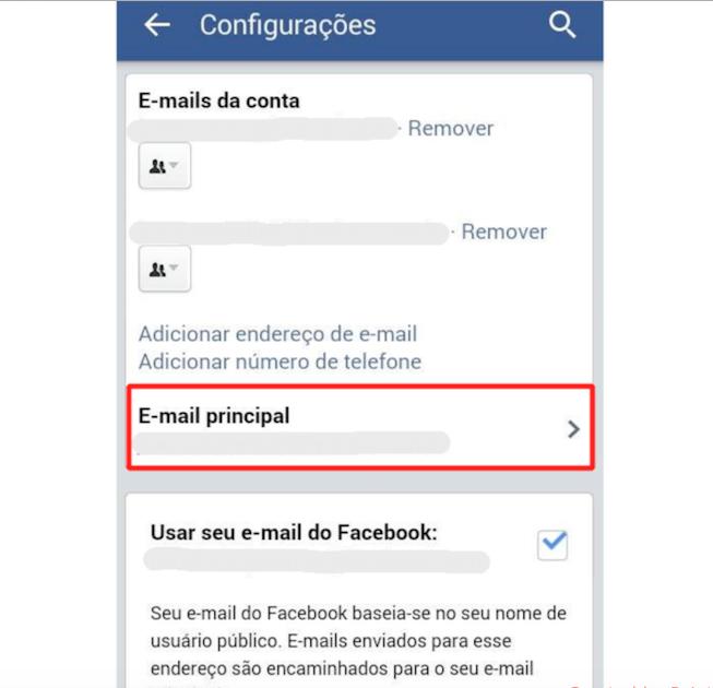 Dentro das Configurações toque na opção E-mail principal (Foto: Reprodução)