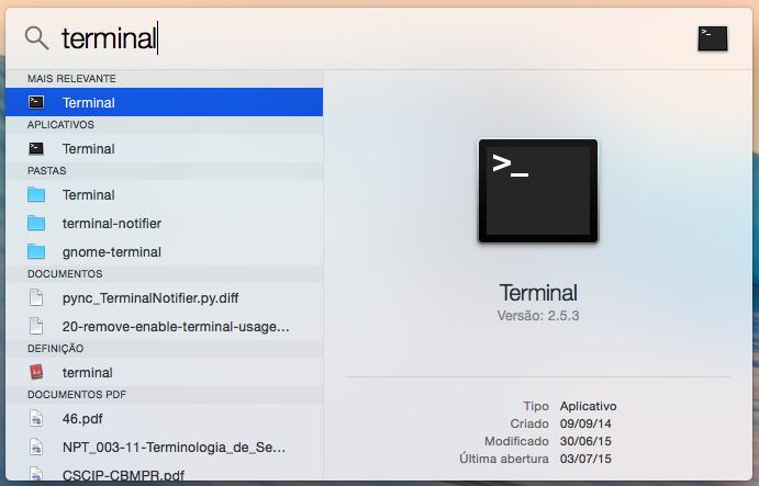 Abra o Terminal do Mac OS X (Foto: Reprodução/Helito Bijora)