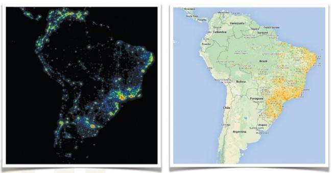 Comparativo entre a visão noturna do território brasileiro e o Mapa de Qualidade da Internet (Foto: Reprodução/Fabrício Tamusiunas)
