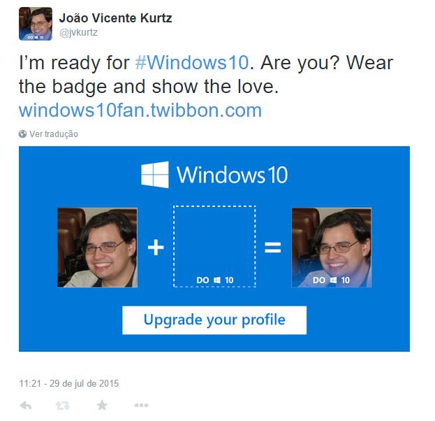 Foto com logo do Windows 10 é atualizada automaticamente na rede social escolhida (Foto: Reprodução/Twitter)