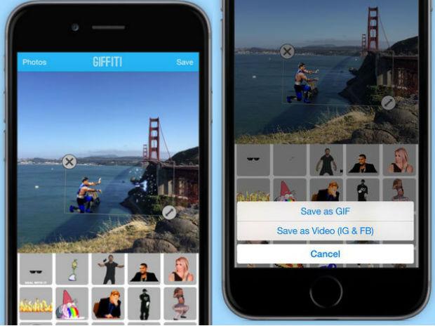 Aplicativo Giffiti adiciona gifs a qualquer foto selecionada no iPhone. Foto: Divulgação/Giffiti