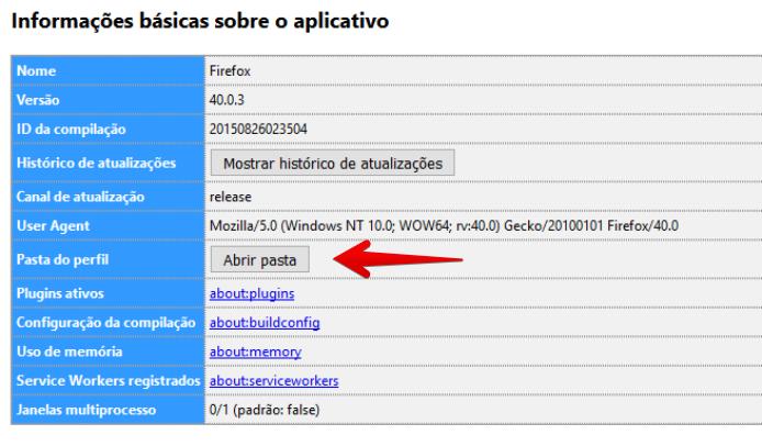 Abrindo a pasta de perfil do Firefox (Foto: Felipe Alencar/TechTudo)