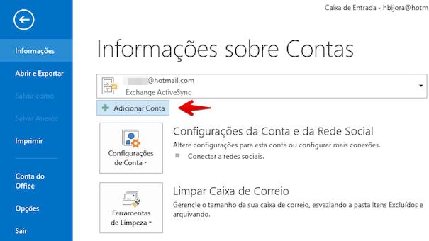 Adicionando conta de e-mail ao Outlook (Foto: Reprodução/Helito Bijora)