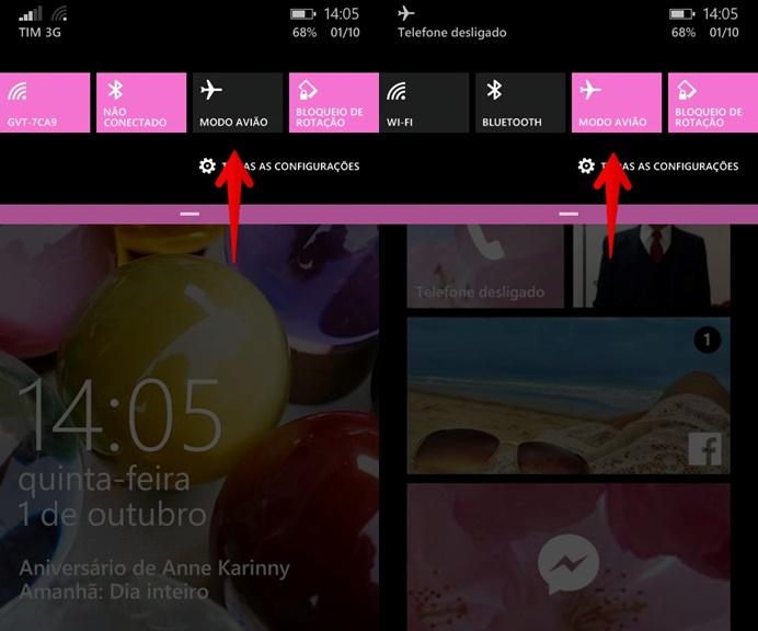 Ativando o Modo Avião no Windows Phone (Foto: Felipe Alencar/TechTudo)