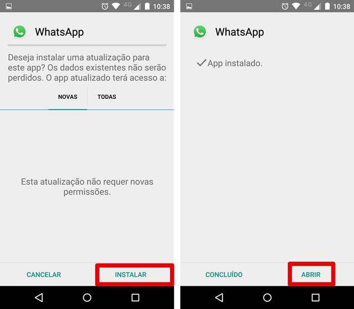 Agora é só instalar e abrir a mais nova versão do Whatsapp (Foto: Felipe Alencar/TechTudo)